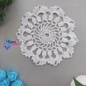 Handmade 5.5 inches White Colour Crochet Doilies - Mercerised Cotton - Utopian Craftsmen