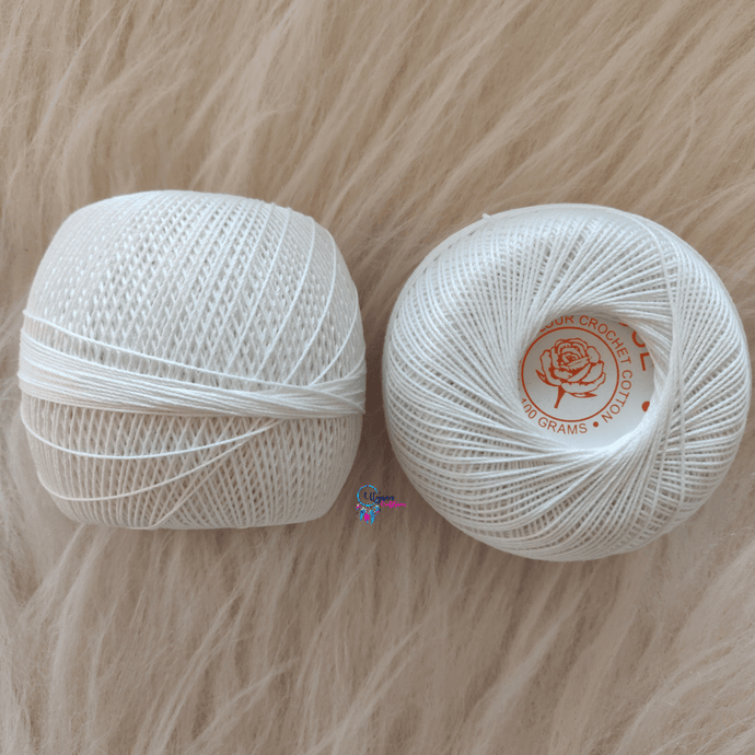 White Colour Mercer-Crochet Thread Balls (100Grams) - Red Rose