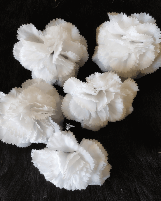 White Colour Carnation Artificial Flowers online for Crafts, Home Decor and Wedding Decor