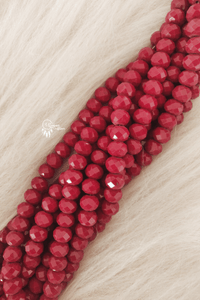Wine Red Colour 10mm Faceted Opaque Glass Beads
