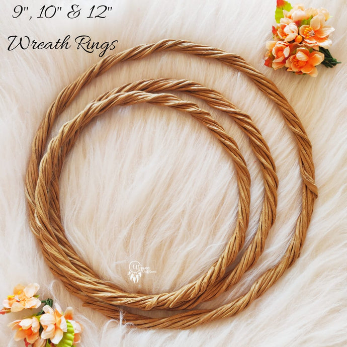 Set of 3 Rope Wreath Rings 9,10 & 12 inches Circular - Natural Brown Colour - Utopian Craftsmen