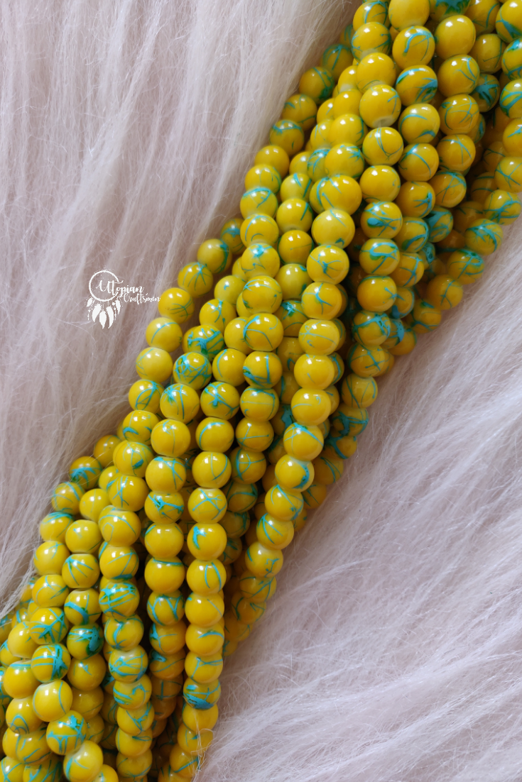 Yellow Blue Shaded Colour Round Glass Beads by Utopian Craftsmen - 8mm (50 Pieces)