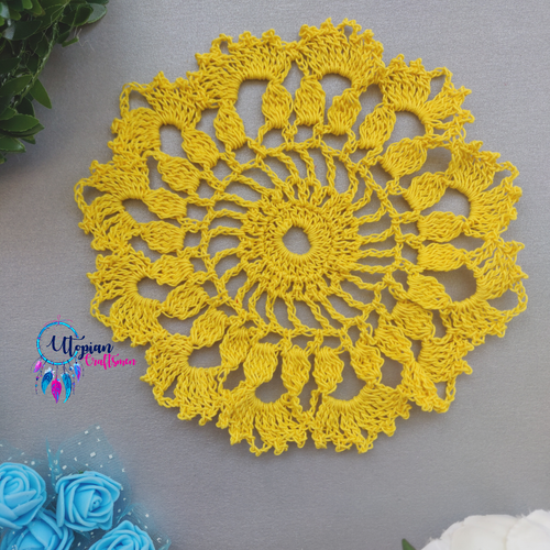 Handmade 6 inches Yellow Colour Crochet Doilies - Mercerised Cotton - Utopian Craftsmen