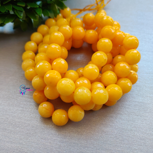 Yellow Colour Round Agate Beads string - 10mm (Approx. 38 Beads)
