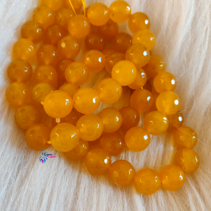Yellow Colour Round Agate Beads string - 12mm (30+ Beads)
