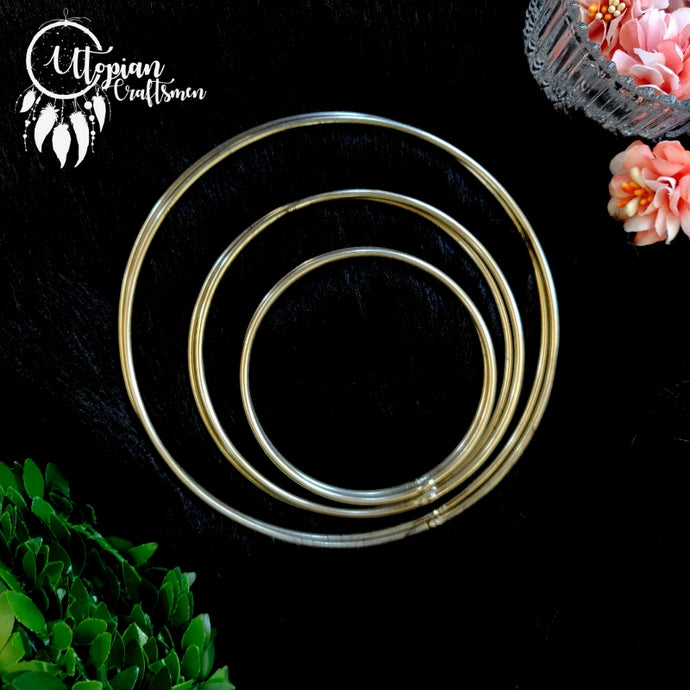 Set of 6 Pieces, (2.5 inches,3.5 inches & 5 inches-2 pcs per size) Circular Steel Hoop/Ring - Utopian Craftsmen