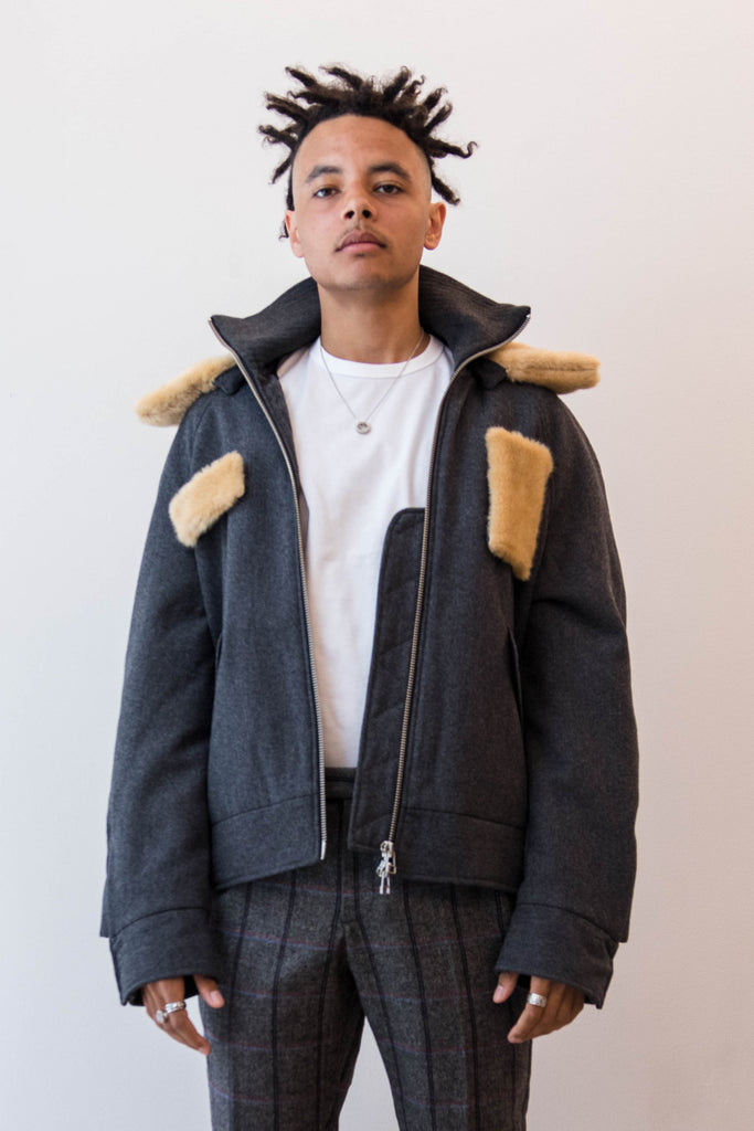 Tonsure, Bomber W/ Detachable Fur Collar & Patches - Grey Melange