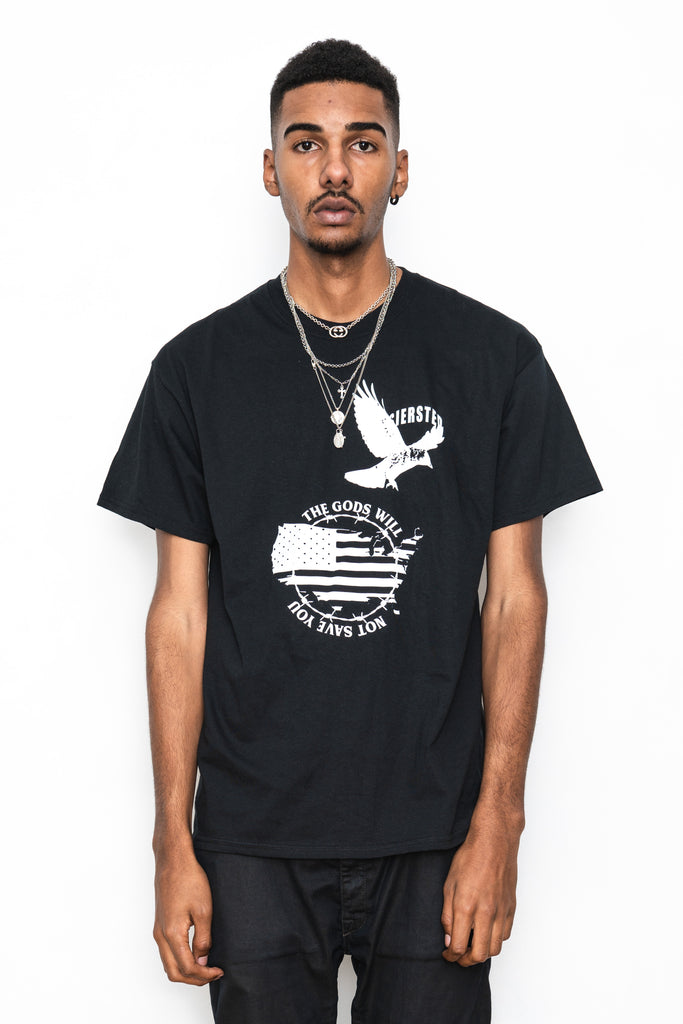 SIERSTED, The Gods Will Not Save You Oversized Black Tee