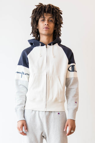 Champion, White Zip Up Hoodie