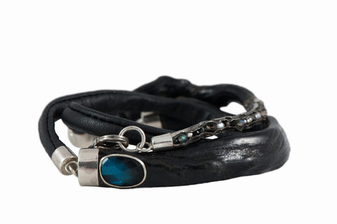 """Uli"" (Black Coral) Bracelet with Sheep Leather by Donna Yolka"