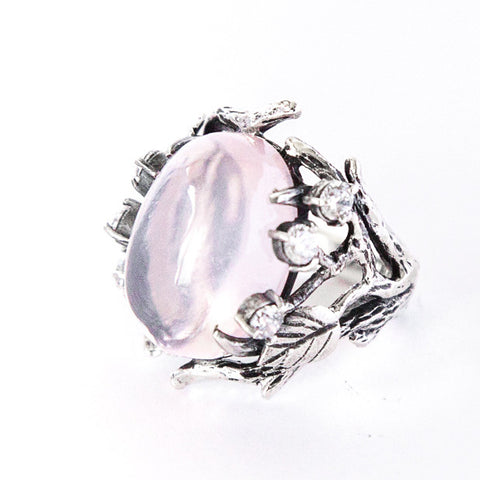 "Ring ""Lukomorye"" with Rose Quartz"