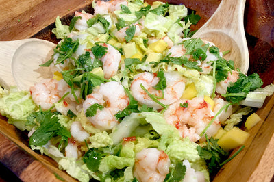 Argentinian red prawns and mango salad with Asian dressing