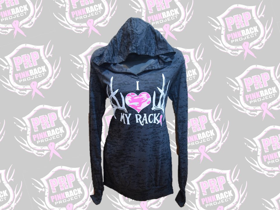 I Love My Rack Burnout Hoodie - Pink Rack Project
