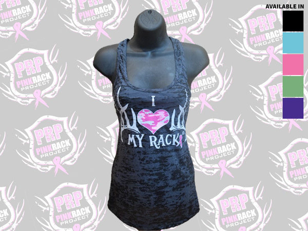 I Love My Rack Burnout Tank Top - Pink Rack Project