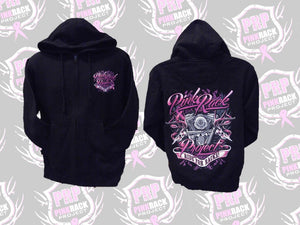 Ride For Racks Zip Up Hoodie - Pink Rack Project