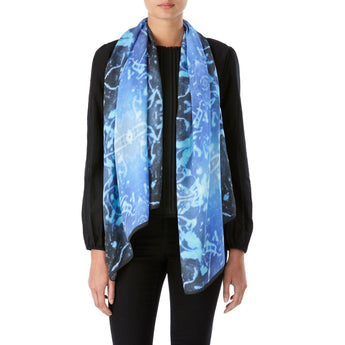 Jacana Blue and Black Silk Scarf