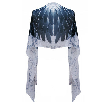 Grey Feather Print Silk Scarf - Small