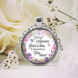 Blessed Assurance Jesus is Mine Floral Necklace