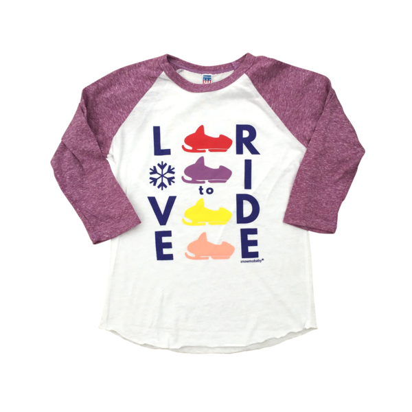 Kid's Love to Ride Raglan 3/4 Sleeve Tee