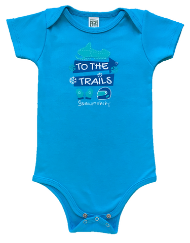 To The Trails Organic Infant Onesie - Scuba Blue