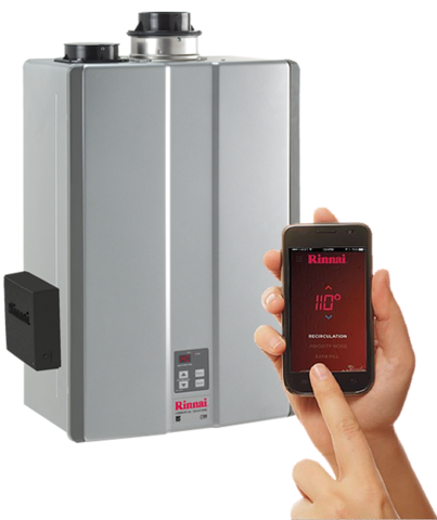 Rinnai, tankless water heater, wireless controller, WiFi