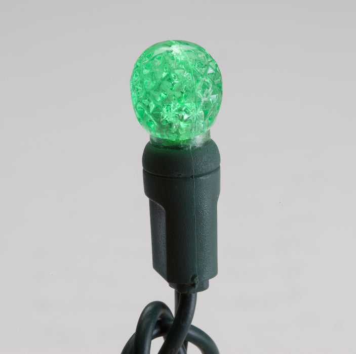"70 G12 Green LED String Lights, 4"" Spacing - Green Wire"