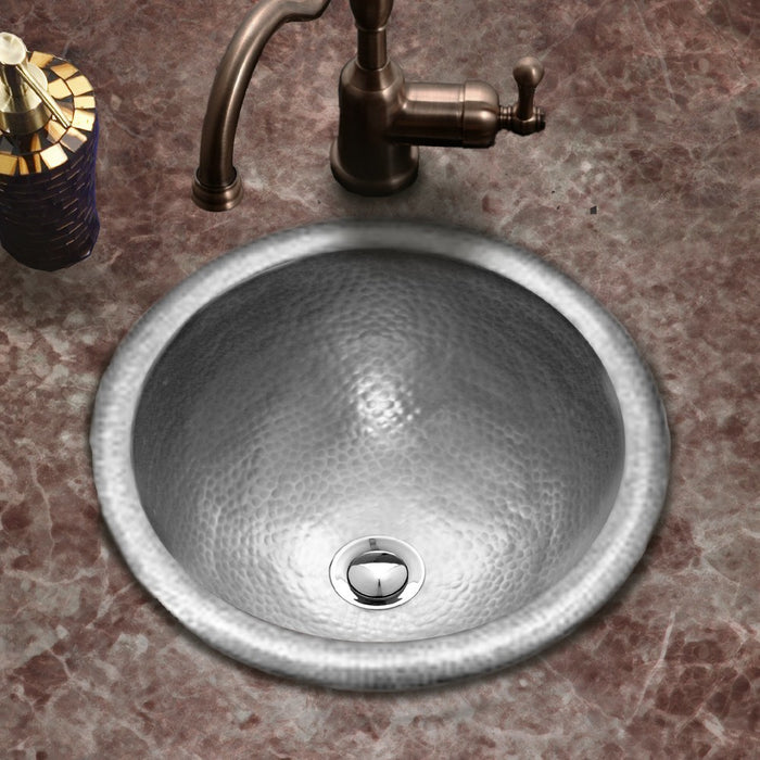 Houzer - Houzer HW-CLA2RS Hammerwerks Series Classic Topmount Copper Lavatory Sink, Pewter -  - Bathroom Sink - Topmount  - Big Frog Supply - 2