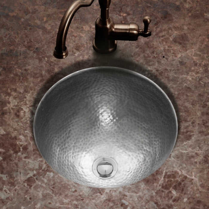 Houzer - Houzer HW-AUG2RF Hammerwerks Series August Undermount Copper Lavatory Sink, Pewter -  - Bathroom Sink - Undermount  - Big Frog Supply - 2
