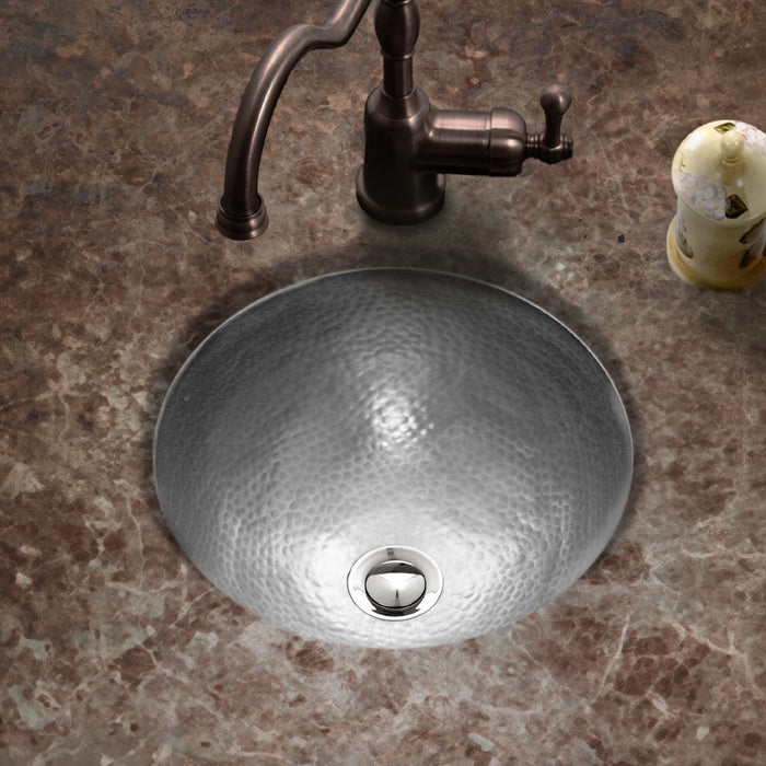 Houzer - Houzer HW-BAB2RF Hammerwerks Series Baby Round Undermount Copper Lavatory Sink, Pewter -  - Bathroom Sink - Undermount  - Big Frog Supply - 2