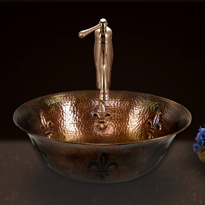 Houzer - Houzer HW-TEL1V Hammerwerks Series Fleur Di Lis Undermount Copper Single Bowl Lavatory Vessel Sink, Antique Copper -  - Bathroom Sink - Vessel sink  - Big Frog Supply - 2
