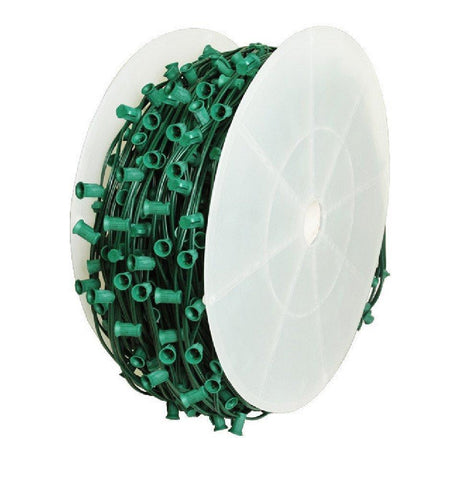 "Seasonal Source - C7 Light Spool, 1000' Length, 12"" Spacing, Green Wire -  - Socket Wire  - Big Frog Supply"