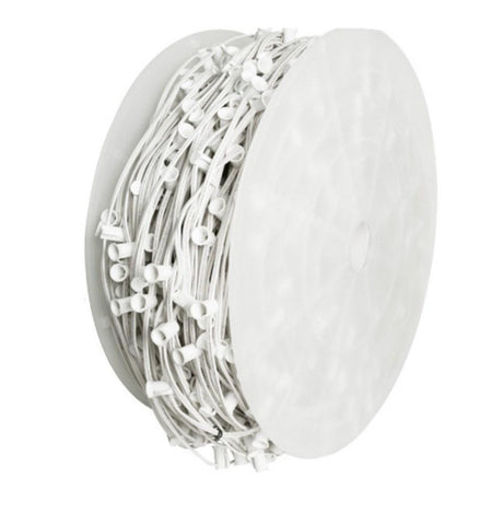 "Seasonal Source - C9 Light Spool, 1000' Length, 12"" Spacing, White Wire -  - Socket Wire  - Big Frog Supply"