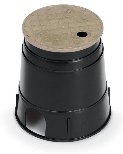 Rain Bird - PVB6RNDT - 6 in. Round PVB Valve Box - Black Body & Overlapping Tan Lid -  - Irrigation  - Big Frog Supply