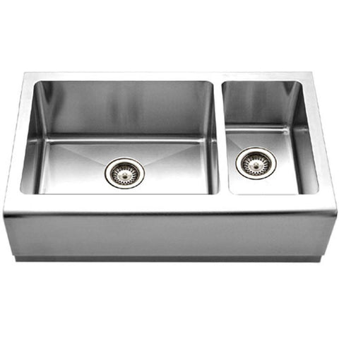 Houzer - Houzer EPO-3370SR Epicure Series Apron Front Farmhouse Stainless Steel 70/30Double Bowl Kitchen Sink, Small bowl Right - Default Title - Kitchen Sink - Apron Front  - Big Frog Supply - 1