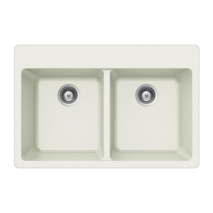 Houzer - Houzer M-200 Quartztone Series Granite Topmount 50/50 Double Bowl Kitchen Sink - Cloud White - Kitchen Sink - Topmount  - Big Frog Supply - 1