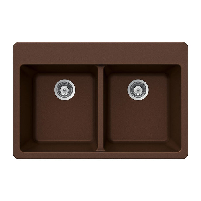 Houzer - Houzer M-200 Quartztone Series Granite Topmount 50/50 Double Bowl Kitchen Sink - Earth - Kitchen Sink - Topmount  - Big Frog Supply - 3