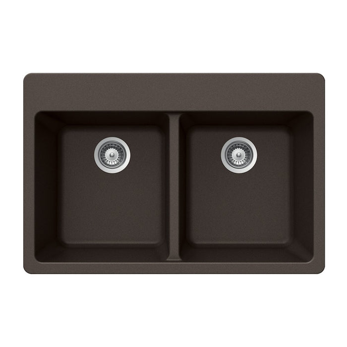 Houzer - Houzer M-200 Quartztone Series Granite Topmount 50/50 Double Bowl Kitchen Sink - Mocha - Kitchen Sink - Topmount  - Big Frog Supply - 5