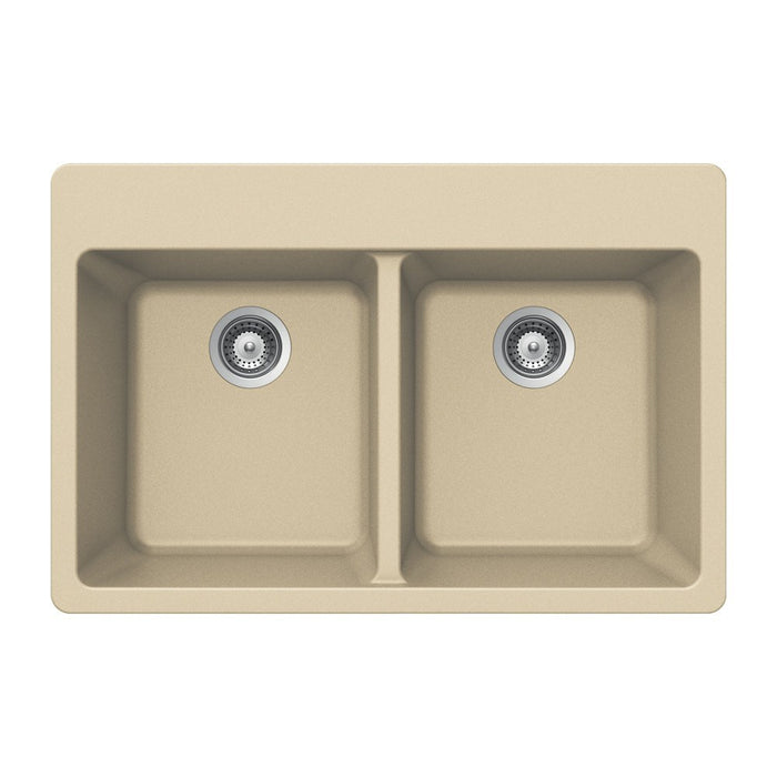 Houzer - Houzer M-200 Quartztone Series Granite Topmount 50/50 Double Bowl Kitchen Sink - Sand - Kitchen Sink - Topmount  - Big Frog Supply - 7