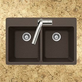 Houzer - Houzer M-200 Quartztone Series Granite Topmount 50/50 Double Bowl Kitchen Sink -  - Kitchen Sink - Topmount  - Big Frog Supply - 9