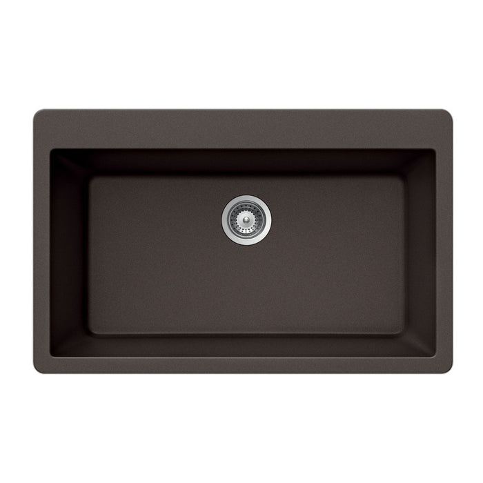 Houzer - Houzer V-100 Quartztone Series Granite Topmount Large Single Bowl Kitchen Sink - Mocha - Kitchen Sink - Topmount  - Big Frog Supply - 5