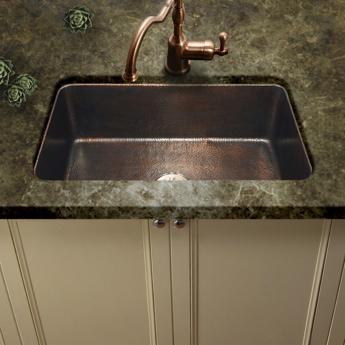 Houzer - Houzer HW-CHA11 Hammerwerks Series Chalet Chef Undermount Copper Large Single Bowl Kitchen Sink, Antique Copper -  - Kitchen Sink - Undermount  - Big Frog Supply - 2
