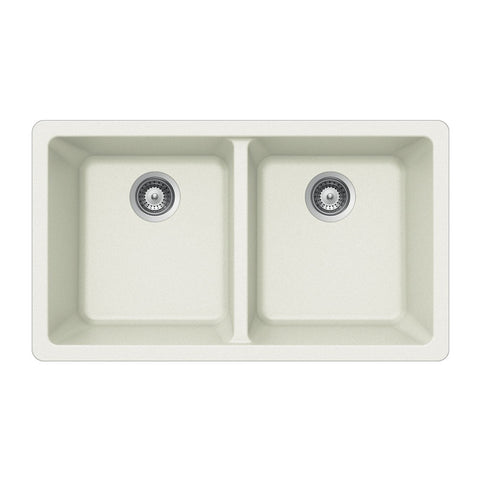 Houzer - Houzer M-200U Quartztone Series Granite Undermount 50/50 Double Bowl Kitchen Sink - Cloud White - Kitchen Sink - Undermount  - Big Frog Supply - 1
