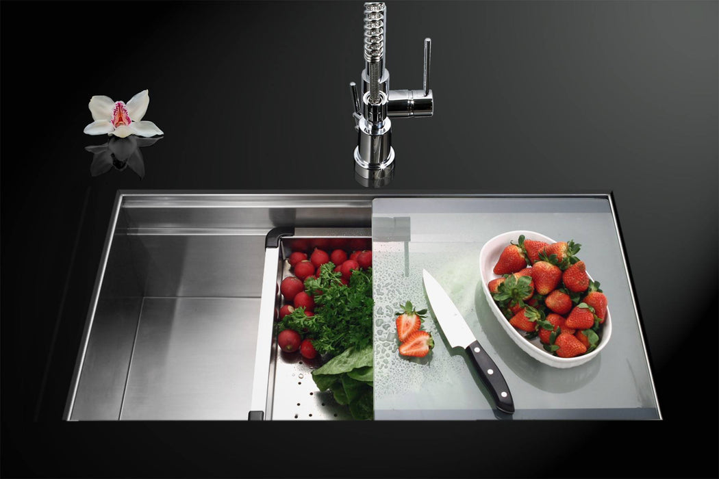 Houzer - Houzer NVS-5200 Novus Series Dual Level Undermount Stainless Steel Large Single Bowl Kitchen Sink with Sliding Platform -  - Kitchen Sink - Undermount  - Big Frog Supply - 2