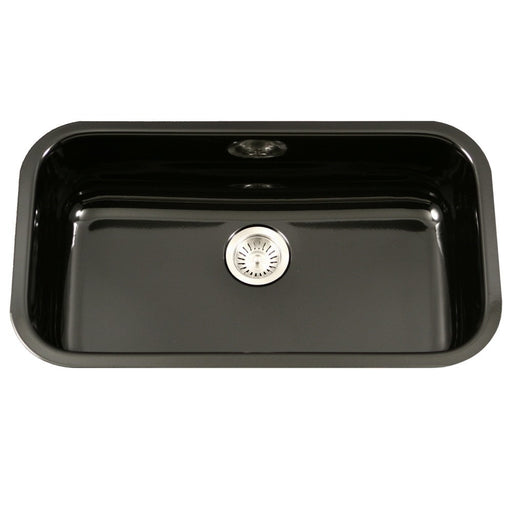 Houzer - Houzer PCG-3600 Porcela Series Porcelain Enamel Steel Undermount Large Single Bowl Kitchen Sink - Black - Kitchen Sink - Undermount  - Big Frog Supply - 1