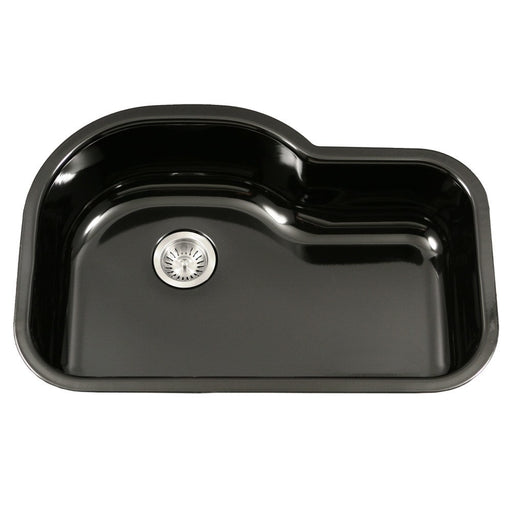 Houzer - Houzer PCH-3700 Porcela Series Porcelain Enamel Steel Undermount Offset Single Bowl Kitchen Sink - Black - Kitchen Sink - Undermount  - Big Frog Supply - 1