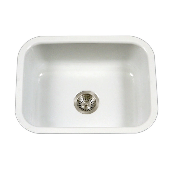Houzer - Houzer PCS-2500 Porcela Series Porcelain Enamel Steel Undermount Single Bowl Kitchen Sink - White - Kitchen Sink - Undermount  - Big Frog Supply - 11