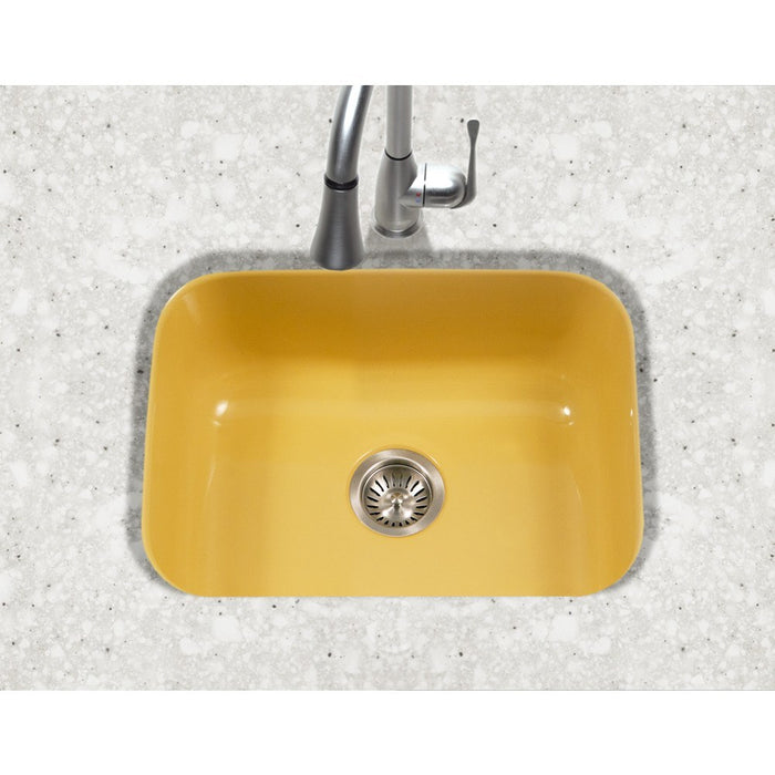 Houzer - Houzer PCS-2500 Porcela Series Porcelain Enamel Steel Undermount Single Bowl Kitchen Sink -  - Kitchen Sink - Undermount  - Big Frog Supply - 12