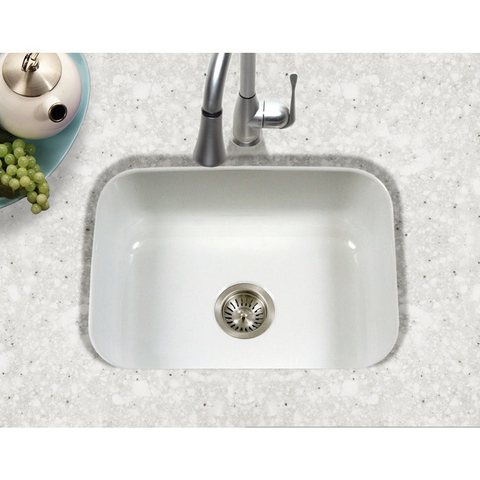 Houzer - Houzer PCS-2500 Porcela Series Porcelain Enamel Steel Undermount Single Bowl Kitchen Sink -  - Kitchen Sink - Undermount  - Big Frog Supply - 16