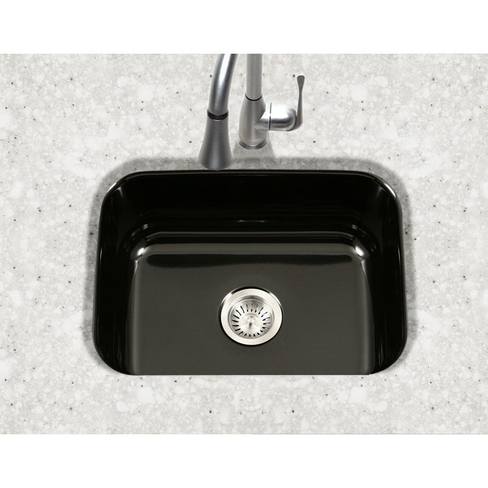 Houzer - Houzer PCS-2500 Porcela Series Porcelain Enamel Steel Undermount Single Bowl Kitchen Sink -  - Kitchen Sink - Undermount  - Big Frog Supply - 2