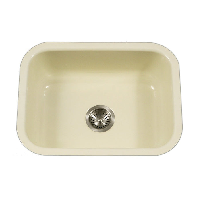 Houzer - Houzer PCS-2500 Porcela Series Porcelain Enamel Steel Undermount Single Bowl Kitchen Sink - Biscuit - Kitchen Sink - Undermount  - Big Frog Supply - 3